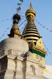 Tempel Swayambhunath Stupa oder des Affen in Kathmandu, Nepal, Asien Lizenzfreies Stockbild