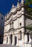 Tempel synagoga i distric av cracow kazimierz i Polen på miodowagatan Arkivfoton