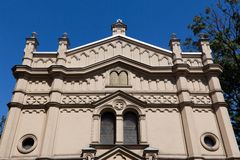 Tempel synagoga i distric av krakow kazimierz i Polen på miodowagatan Arkivbilder