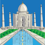 Tempel Taj-Mahal vektor illustrationer