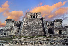 Tempel in Tulum, Mexico Stock Afbeeldingen