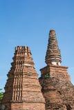 Tempel u. Chedi in Ayutthaya, ungesehen von Thailand Stockfotografie