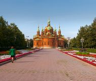 Tempel van Alexander Nevsky & x28; het vroegere orgaan hall& x29; Chelyabinsk, de Herfst stock fotografie