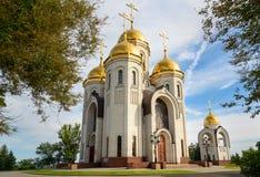 Tempel van Alle Heiligen Herdenkings complexe Mamayev Kurgan in Volgograd royalty-vrije stock foto