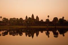 Tempel van Angkor Wat bij zonsondergang, Kambodja Royalty-vrije Stock Foto