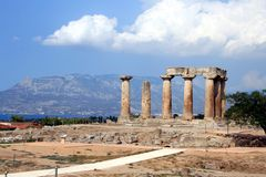 Tempel van Apollo in Corinth Stock Foto's
