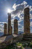 Tempel van Apollo-god van zon in Griekse mythologie in Delphi, Griekenland royalty-vrije stock foto's