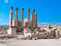 Tempel van Artemis in Jerash, Jordanië. Royalty-vrije Stock Afbeelding