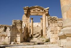 Tempel van Artemis, Jerash, Jordanië Royalty-vrije Stock Foto