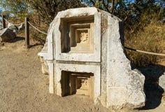Tempel van Athena in oude Troy stad Turkije stock foto's