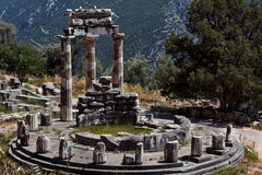 Tempel van Athena Pronea-Delphi-Greece Stock Foto's