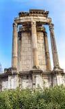 Tempel van de Corinthische Kolommen Roman Forum Rome Italy van Vesta stock fotografie