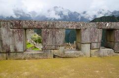 Tempel van de drie vensters, Machu Picchu, Peru Stock Foto's