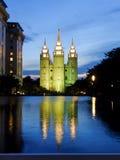 Tempel van de Kerk van Jesus Christ van laatstgenoemde-Dagheiligen reflec Royalty-vrije Stock Afbeelding