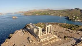 Tempel van de luchtmening van Poseidon stock videobeelden