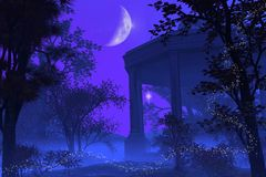 Tempel van Diana in het Maanlicht Stock Foto's