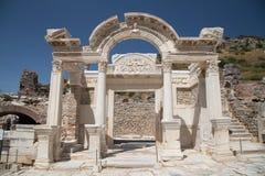 Tempel van Hadrian in de Oude Stad van Ephesus Stock Foto