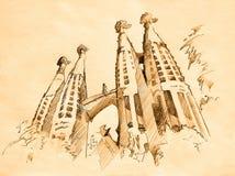 Tempel van Heilige Familie in Barcelona, het trekken Stock Foto