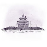 Tempel van Hemel, Taoist gebouw in Peking wordt geplaatst dat vector illustratie