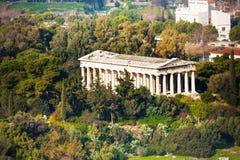 Tempel van Hephaestus-mening vanaf bovenkant in Athene Stock Foto
