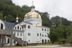 Tempel van het Pictogram van Onze Dame van de Heiligste Moedermeerdere van Onderstel Athos in het vrouwelijke klooster drievuldig Stock Fotografie