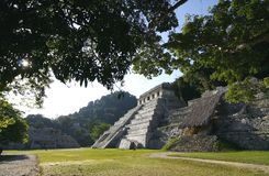 Tempel van Inschrijvingen. Ruïnes van Mayan stad Mexico Stock Foto