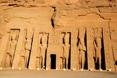 Tempel van Koningin Nefertari in Abu Simbel, Egypte Stock Fotografie