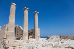Tempel van Lindian Athena Lindos Greece Stock Afbeeldingen