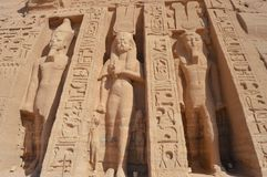 Tempel van Nefertari in Abu Simbel, Egypte Stock Afbeelding