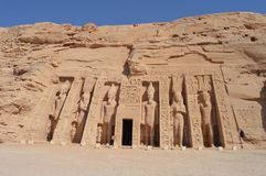Tempel van Nefertari in Abu Simbel, Egypte Royalty-vrije Stock Fotografie