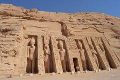 Tempel van Nefertari in Abu Simbel, Egypte Stock Foto's