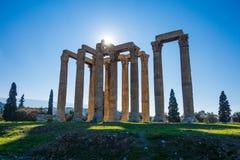 Tempel van Olympian Zeus in Athene E stock foto's