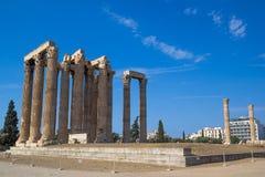 Tempel van Olympian Zeus Olympieion, Athene Stock Afbeeldingen