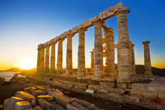 Tempel van Poseidon bij Kaap Sounion, Griekenland royalty-vrije stock foto's