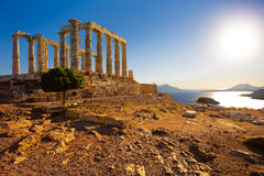 Tempel van Poseidon bij Kaap Sounion, Griekenland stock foto