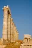 Tempel van Poseidon, Kaap Sounion, Griekenland Stock Foto