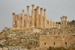 Tempel van Zeus, Jerash Royalty-vrije Stock Foto's