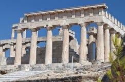 Tempel von Aphaea Athina bei Aegina, Griechenland. Lizenzfreies Stockbild