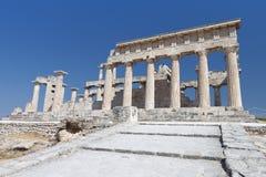 Tempel von Aphaea bei Aegina, Griechenland. Lizenzfreies Stockfoto