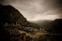 Tempel von Apollo in Delphi, Griechenland Lizenzfreies Stockbild