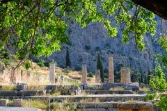 Tempel von Apollo, Schongebiet von Apollo, Berg Parnassus, Griechenland Stockbilder