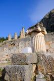 Tempel von Apollo, Schongebiet von Apollo, Berg Parnassus, Griechenland Lizenzfreies Stockbild