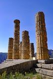 Tempel von Apollo, Schongebiet von Apollo, Berg Parnassus, Griechenland Lizenzfreies Stockfoto