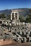Tempel von Atenea (Athene) in Deplhi, Griechenland Lizenzfreies Stockfoto