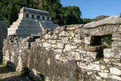 Tempel von Aufschriften in der alten Mayastadt von Palenque Stockfotografie