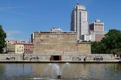 Tempel von Debod in Madrid, Spanien lizenzfreies stockfoto