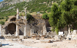 Tempel von Domitian in alter Stadt Ephesus Stockfotos