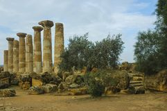 Tempel von Ercole in Sizilien stockbilder