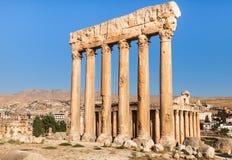 Tempel von Jupiter in alten römischen Ruinen Baalbeks, die Bekaa-Ebene vom Libanon lizenzfreie stockfotos