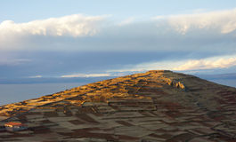 Tempel von Pachamama Amantani-Insel, Puno, Peru Lizenzfreies Stockbild